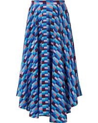 Falda midi de seda azul