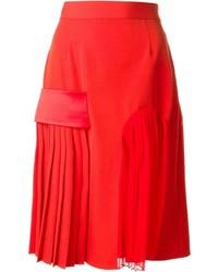 Falda midi de seda plisada roja de Givenchy