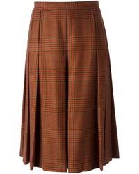 Falda midi de tartán marrón de Givenchy