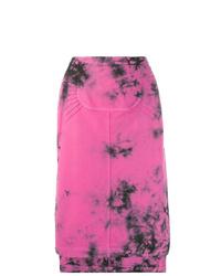 Falda midi efecto teñido anudado rosa