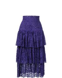 Falda midi en violeta de Bambah