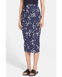 Falda midi estampada azul marino