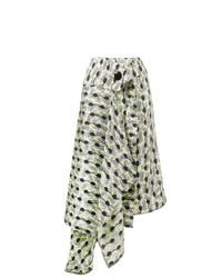 Falda midi estampada en beige de Marni