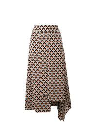 Falda midi estampada gris de Marni