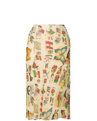 Falda midi estampada marrón claro de Christian Dior Vintage