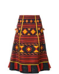 Falda midi estampada roja de Vita Kin