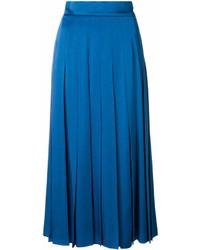 Falda Midi Plisada Azul de Fendi