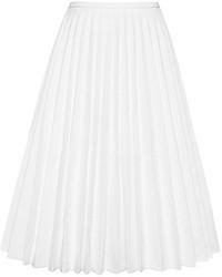 Falda midi plisada blanca