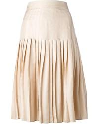 Falda midi plisada en beige de Givenchy