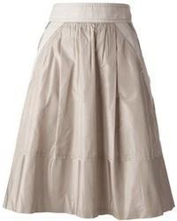 Falda midi plisada en beige de Louis Vuitton
