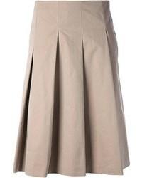 Falda midi plisada en beige de Max Mara