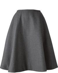 Falda midi plisada en gris oscuro de Rochas