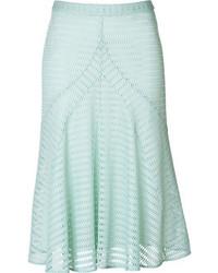 Falda midi plisada en verde menta