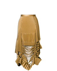 Falda midi plisada marrón claro de Maison Margiela