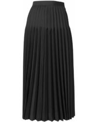Falda midi plisada negra de Junya Watanabe