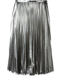Falda midi plisada plateada de MICHAEL Michael Kors