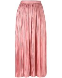 Falda midi plisada rosada de Tibi