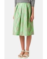 Falda midi plisada verde