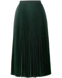 Falda Midi Plisada Verde Oscuro de Prada