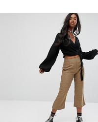 Falda pantalón a cuadros marrón claro