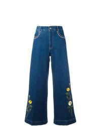 Falda pantalón bordada azul de Stella McCartney