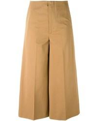 Falda pantalón de lana marrón claro