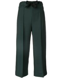 Falda pantalón de lana verde oscuro de Fendi
