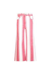 Falda pantalón de rayas verticales blanca de Frame Denim