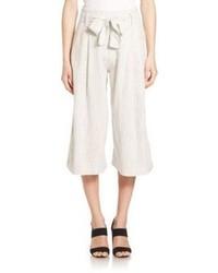 Falda pantalón de rayas verticales en beige