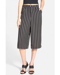 Falda pantalón de rayas verticales negra