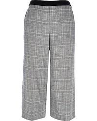 Falda pantalón de tartán gris