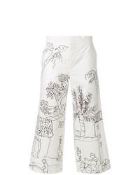 Falda pantalón estampada blanca de Marni