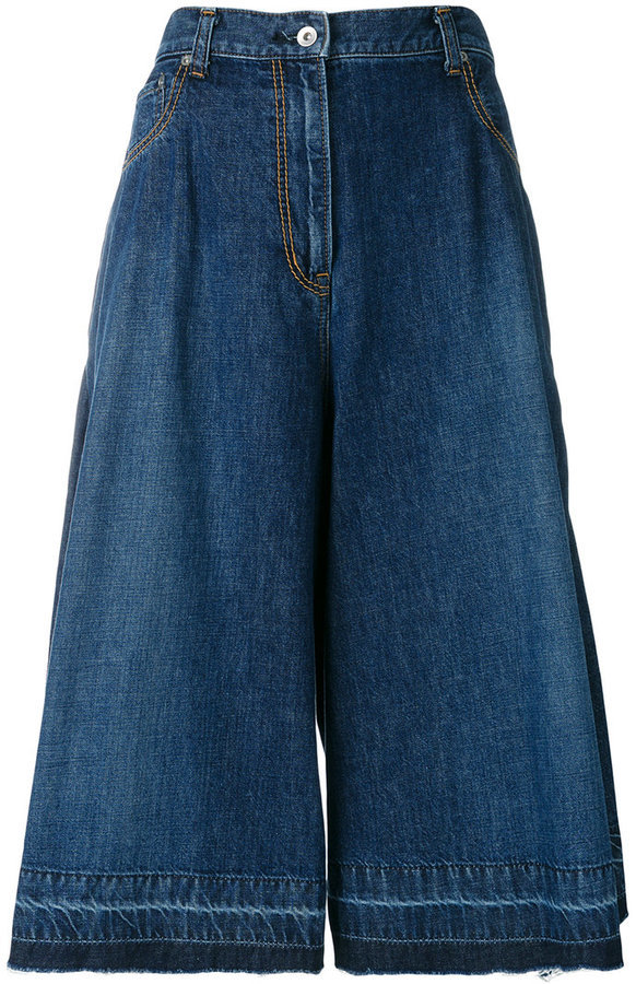 Falda pantalón vaquera azul marino de Sacai