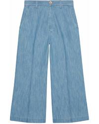 Falda pantalón vaquera azul de Gucci