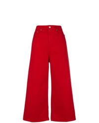 Falda pantalón vaquera roja de MSGM