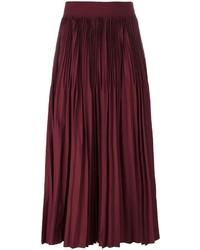 Falda plisada burdeos de DKNY