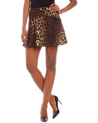 Falda skater de leopardo marrón