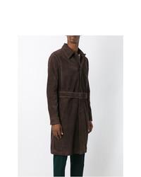 Gabardina de ante en marrón oscuro de AMI Alexandre Mattiussi