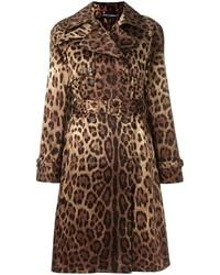 Gabardina de leopardo marrón de Dolce & Gabbana