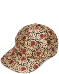 Gorra de béisbol con print de flores dorada de Dolce & Gabbana