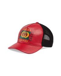 Gorra de béisbol de cuero roja