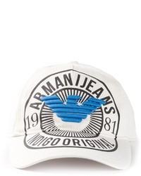 Gorra de béisbol estampada blanca de Armani Jeans