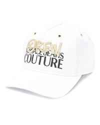 Gorra de béisbol estampada blanca de VERSACE JEANS COUTURE