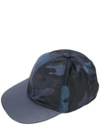 Gorra inglesa de cuero de camuflaje azul marino de Valentino Garavani