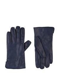 Guantes de cuero azul marino