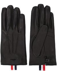 Guantes de cuero de rayas horizontales negros de Thom Browne