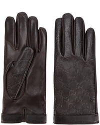 Guantes de cuero en marrón oscuro de Gucci