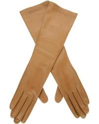 Guantes de cuero marrón claro de Giorgio Armani
