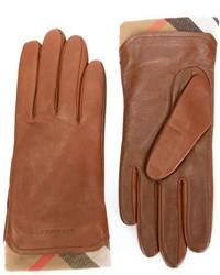 Guantes de cuero marrónes de Burberry