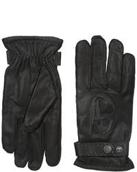 Guantes de cuero negros de Armani Jeans
